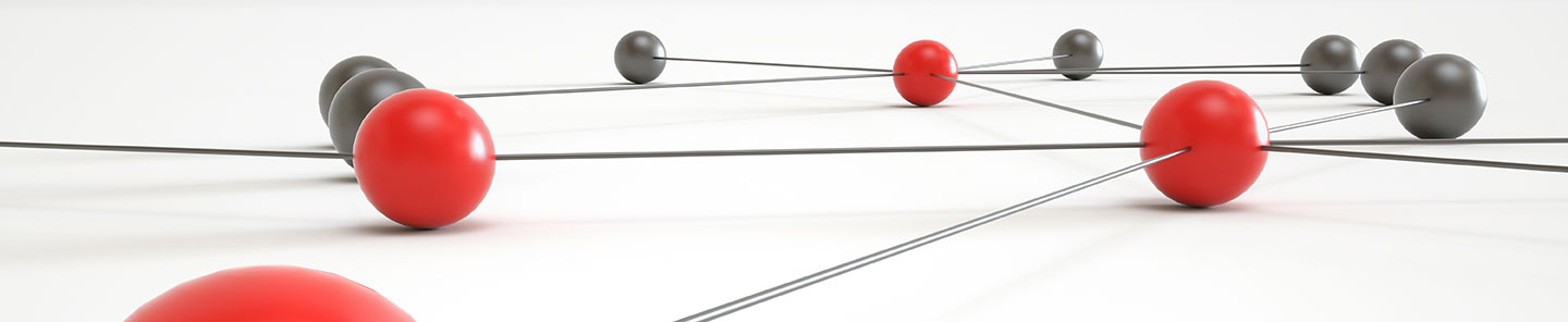 Gray and red balls connected by thin metal rods, network concept